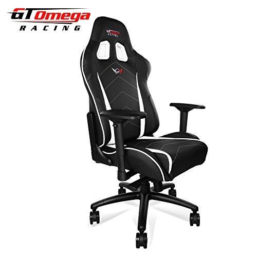 GT Omega Pro XL Silla de Oficina de Piel, diseño Deportivo, Color Bla