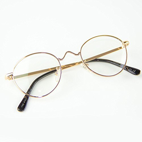 b43c5fd7c6 Cyxus retro redondo marco gafas [lente transparente] ligeras cómodas clásico  moda unisexo vidrios negro marco ordinarios gafa